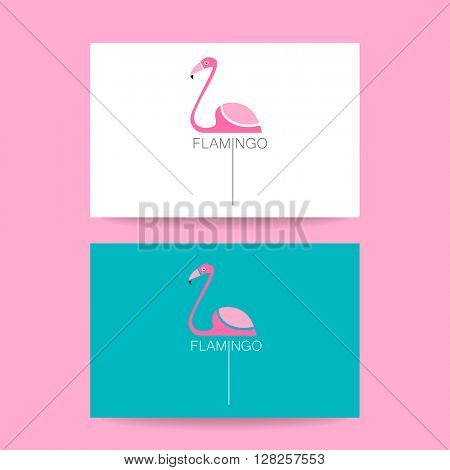 Flamingo logo. Identity card. Vector illustration pink flamingo. Exotic bird. Flamingo illustration idea for logo, emblem, symbol, icon. Vector illustration.