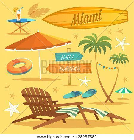 Summer Holidays. Set of objects. Vector Illustration