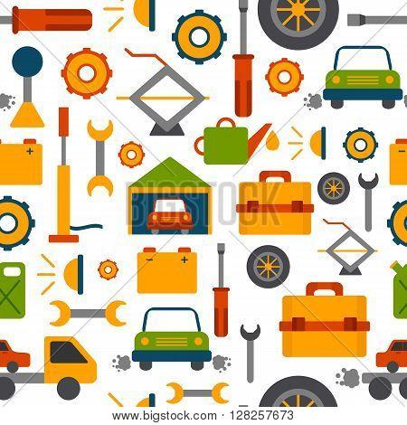 Vector car repair background. Cartoon cute objects for car design. Car service or garage concept. Equipment tools objects for break car work. Vector cartoon car repair illustration