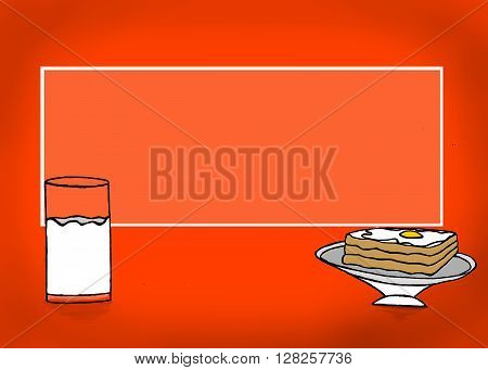 A Rectangular Text Revealer With A Glass Of Milk And Bread And Half Boiled Egg Omelette On Bread Con