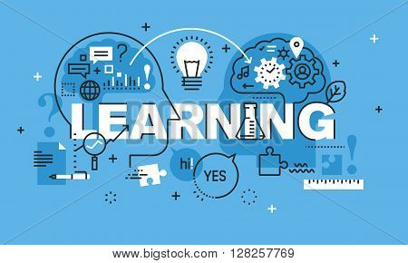 Modern thin line design concept for LEARNING website banner. Vector illustration concept for education, sharing ideas and experiences, brainstorming.