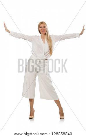 Blond hair model in elegant flared pants isolated on white