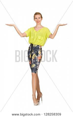 Tall model in yellow blouse isolated on white