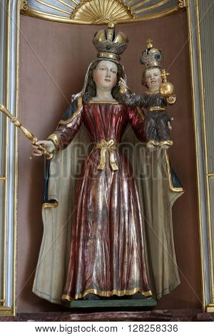 PRIMISWEILER, GERMANY - OCTOBER 20: Virgin Mary with baby Jesus, church of St. Clement in Primisweiler, Germany on October 20, 2014.