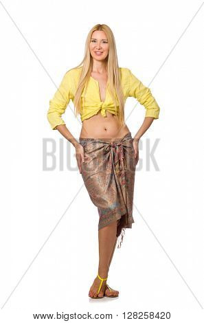 Caucasian model wearing yellow blouse with skirt isolated on whi