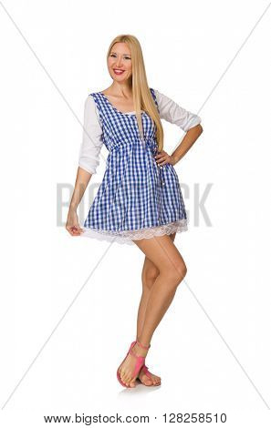 Caucasian woman in plaid blue dress isolated on white