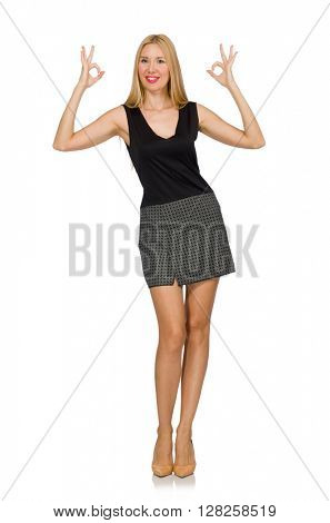 Blond hair model wearing gray skirt isolated on white