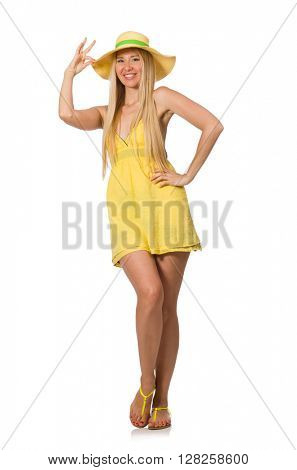 Caucasian fair model in yellow summer dress isolated on white