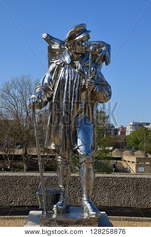 WASHINGTON, DC - APR 16: Kiepenkerl sculpture by Jeff Koons at the Hirshhorn Sculpture Garden in Washington, DC, on April 16, 2016. In 2013, the Sculpture Garden drew 645,000 visitors.