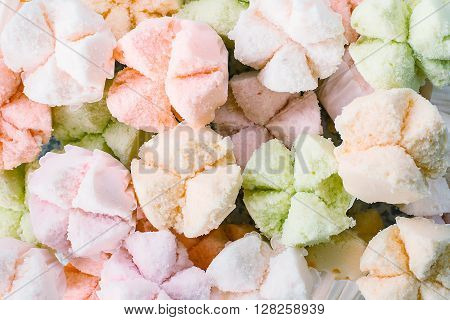 Cotton - wool cake thai dessert thai steamed cupcakes muffin cup cake or cotton-wool cake thai dessert for background