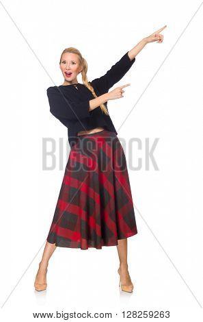 Blond hair model wearing scottish skirt isolated on white