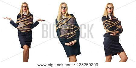 Woman tied up isolated on the white background
