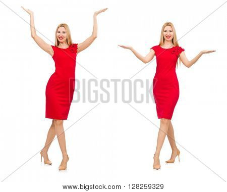 Woman in red dress isolated on white