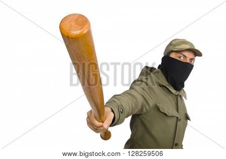 Funny man with baseball bat isolated on white