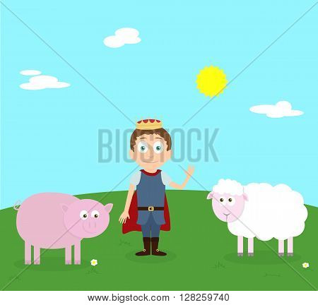 Cartoon scenery of nice spring day. Young prince with farm animals pink pig and sheep. Vector cartoon characters. Sunny day with white clouds.