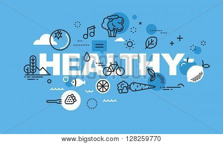 Modern thin line design concept for HEALTHY website banner. Vector illustration concept for healthy lifestyle, active living, healthy food, healthy environment.