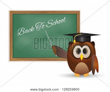 Owl and board with back to school thematic