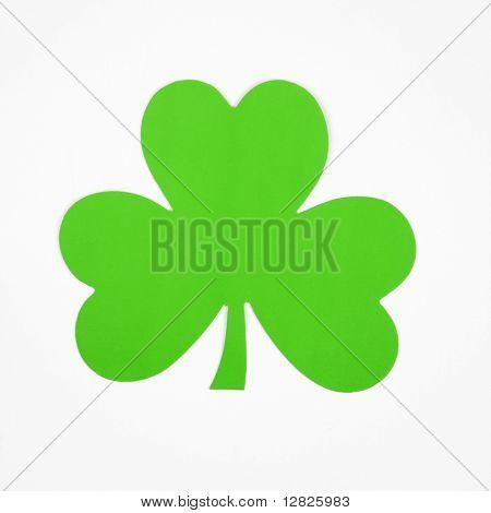 Single green paper shamrock on white.