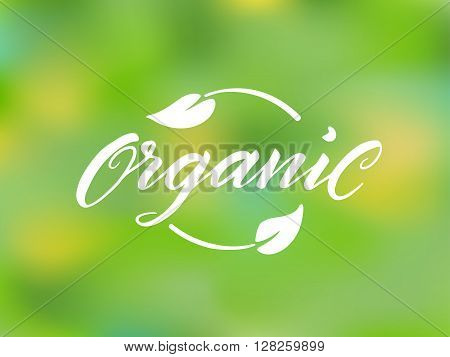 Organic brush lettering against blurred background. Hand drawn word organic with leaves. Label, logo template for organic products, healthy food markets.