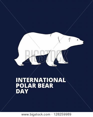 International Polar Bear Day poster. Polar bear side view, hand drawn illustration.