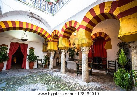 Cordoba, Spain- 12 March2015:Andalusian patio in Cordoba Spain Europe .