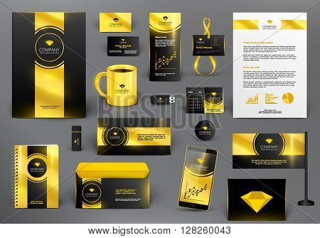 Professional  luxury branding design kit for jewelry shop. Golden style. Premium corporate identity template. Business stationery mock-up with logo.