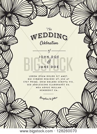 Elegant wedding invitation with orchid flowers