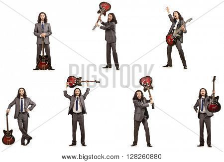 Funny guitar player isolated on white
