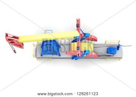 Oil rig pump-jack isolated on white background. Top view. 3d render image.