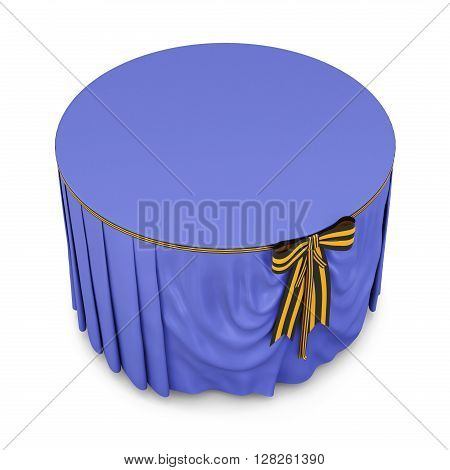 Blue tablecloth on round table isolated on white background. With bow.  Bow color of victory. 3d rendering