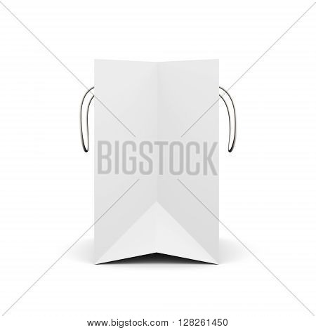 White paper bag with handles side view. Paper white bag for your design. 3d render image on white background.