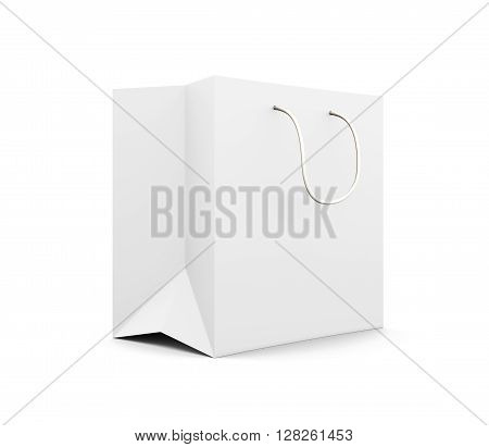 White paper bag with handles isolated on white background. Paper white bag for your design. 3d rendering.