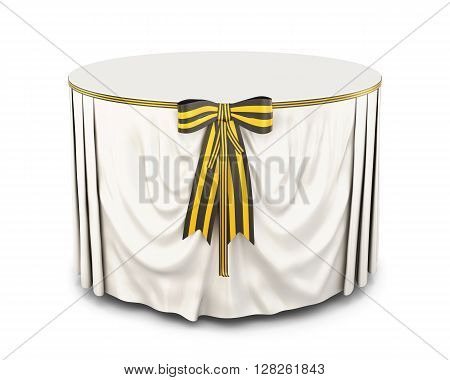 Round table with tablecloth and bow on a white background.  White tablecloth . Bow color of victory. Front view. 3d rendering