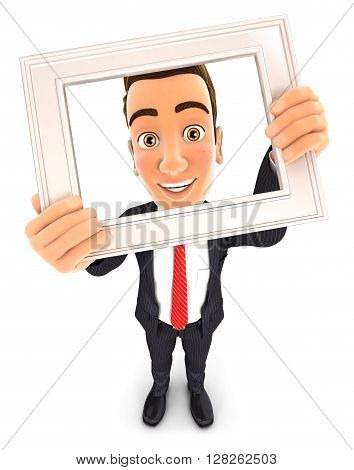 3d businessman holding picture frame isolated white background