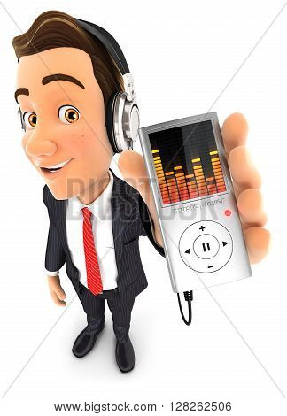 3d businessman listening music on mp3 player isolated white background