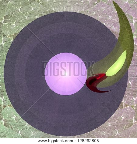 Abstract fractal blue / pink/ green disk button on intricate background