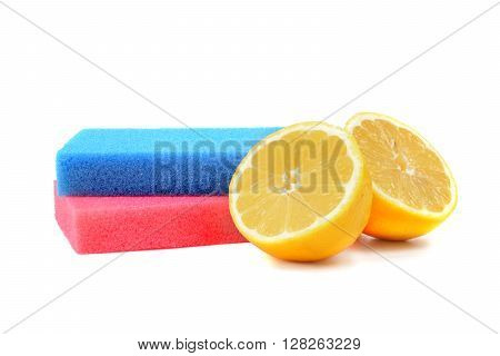 lemons and sponges isolated white background cleaning concept
