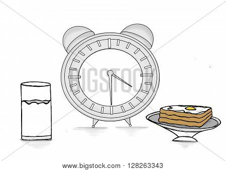 Isolated Clock With A Glass Of Milk And Bread And Half Boiled Egg Omelette On Bread Concept