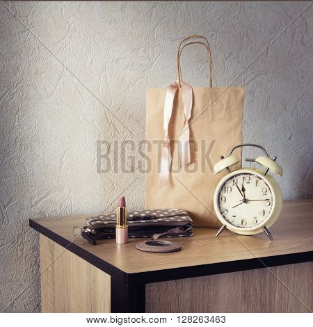 Paper Shopping Bag, Lipstick And Watches