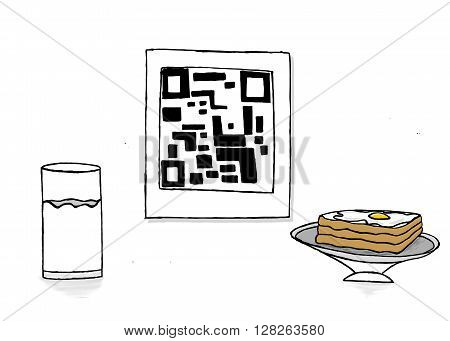 Isolated Qr Code With A Glass Of Milk And Bread And Half Boiled Egg Omelette On Bread Concept