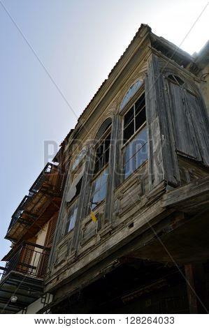 Ottoman facade in an alley of the city of Rethymnon in Crete.