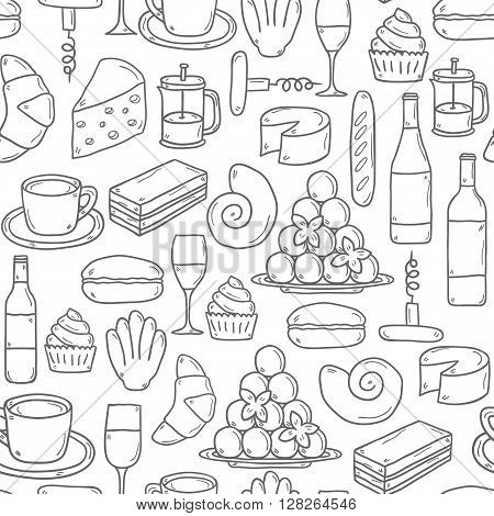 Seamless background with cartoon cute hand drawn objects on french cuisine theme: cheese wine macaroon criossant pastry. Ethnic travel concept. Great for restaurant menu or food site