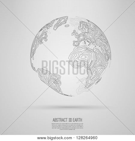 Abstract 3d world map consist of wavy lines  Vector earth globe  Decorative continents  Global network connection of planet Lineart