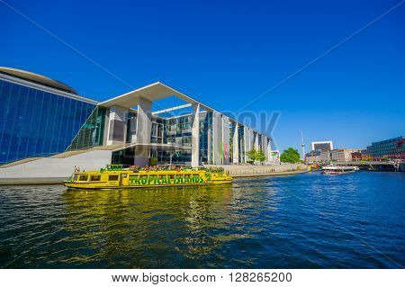 BERLIN, GERMANY - JUNE 06, 2015: Great view of one of the parliament buildings on Berlin, Marie Elisabeth Lueder house actually is used as a library and scientific services,