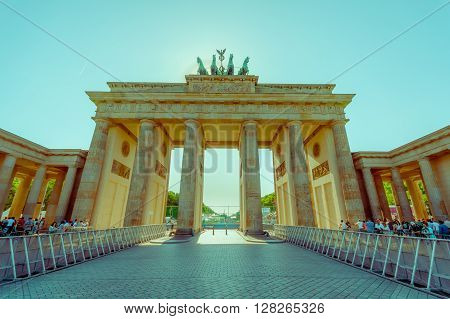 BERLIN, GERMANY - JUNE 06, 2015: Turists and people waiting for the celebration on Brandenburger gate Berlin, final match of Champions League. Barcelona and Juventus