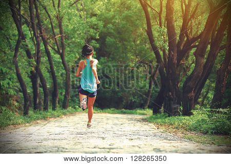 young woman trail runner running at forest stone trail