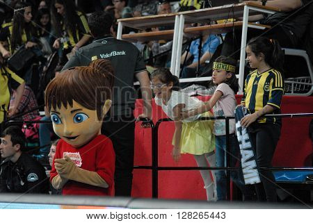 ANKARA/TURKEY-April 30, 2016: Childerens at the Baskent Volleyball court during the Volleyball Women 1st Laegue of Turkey Final Four matches . April 30, 2016-Ankara/Turkey
