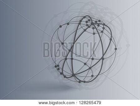 Vector 3d perspective outline sphere with realistic shadow Abstract concept illustration , template , background , poster for business or science Global network connection concept Technology background