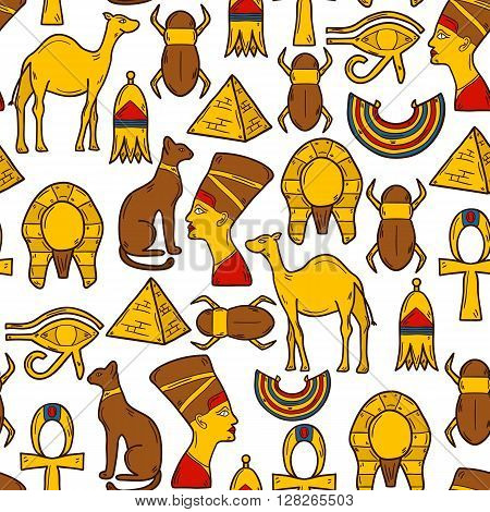 Seamless cartoon background with objects in hand drawn style on Egypt theme: pharaon nefertiti camel pyramid scarab cat eye. Africa travel concept for your design