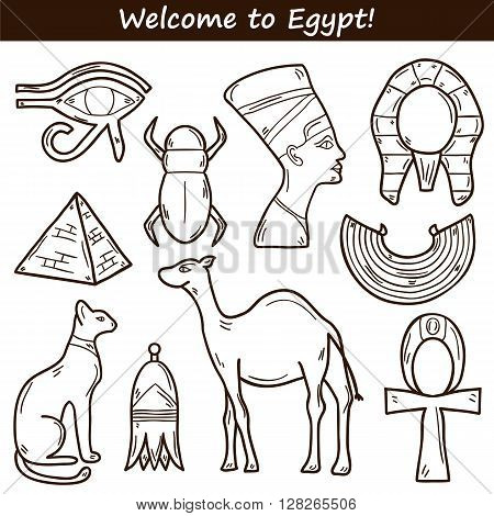 Set of cartoon icons in hand drawn style on Egypt theme: pharaon nefertiti camel pyramid scarab cat eye. Africa travel concept for your design